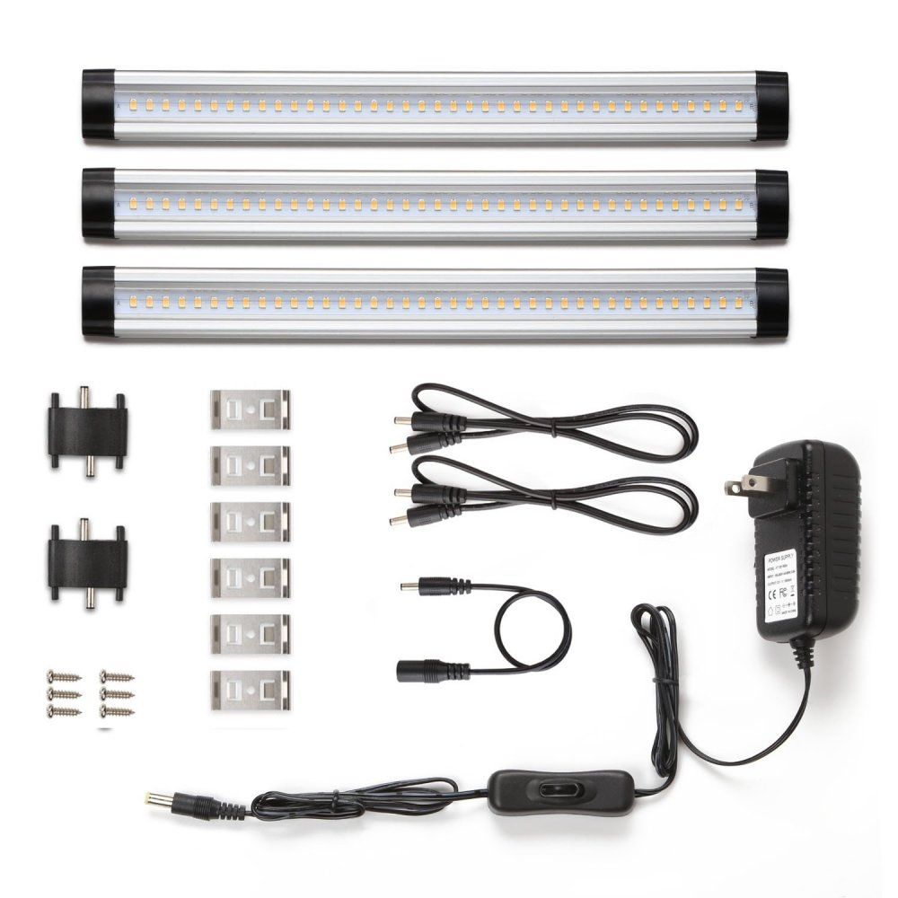 medium resolution of under cabinet led lighting 3 panel kit total of 12w 900lm 12v warm white 24w fluorescent tube equivalent all accessories included