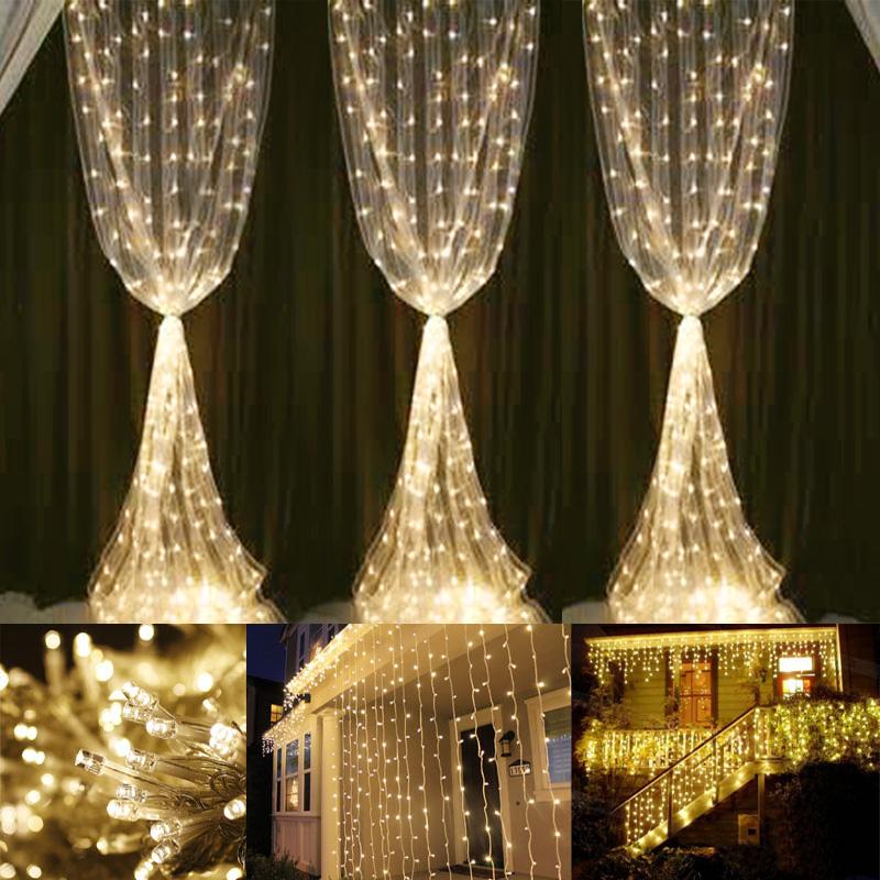 300 LED Window Curtain Icicle Lights Warm White 9898ft