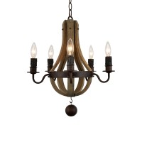 LED Iron Wooden Chandelier with Five Light E12 Bases | LE