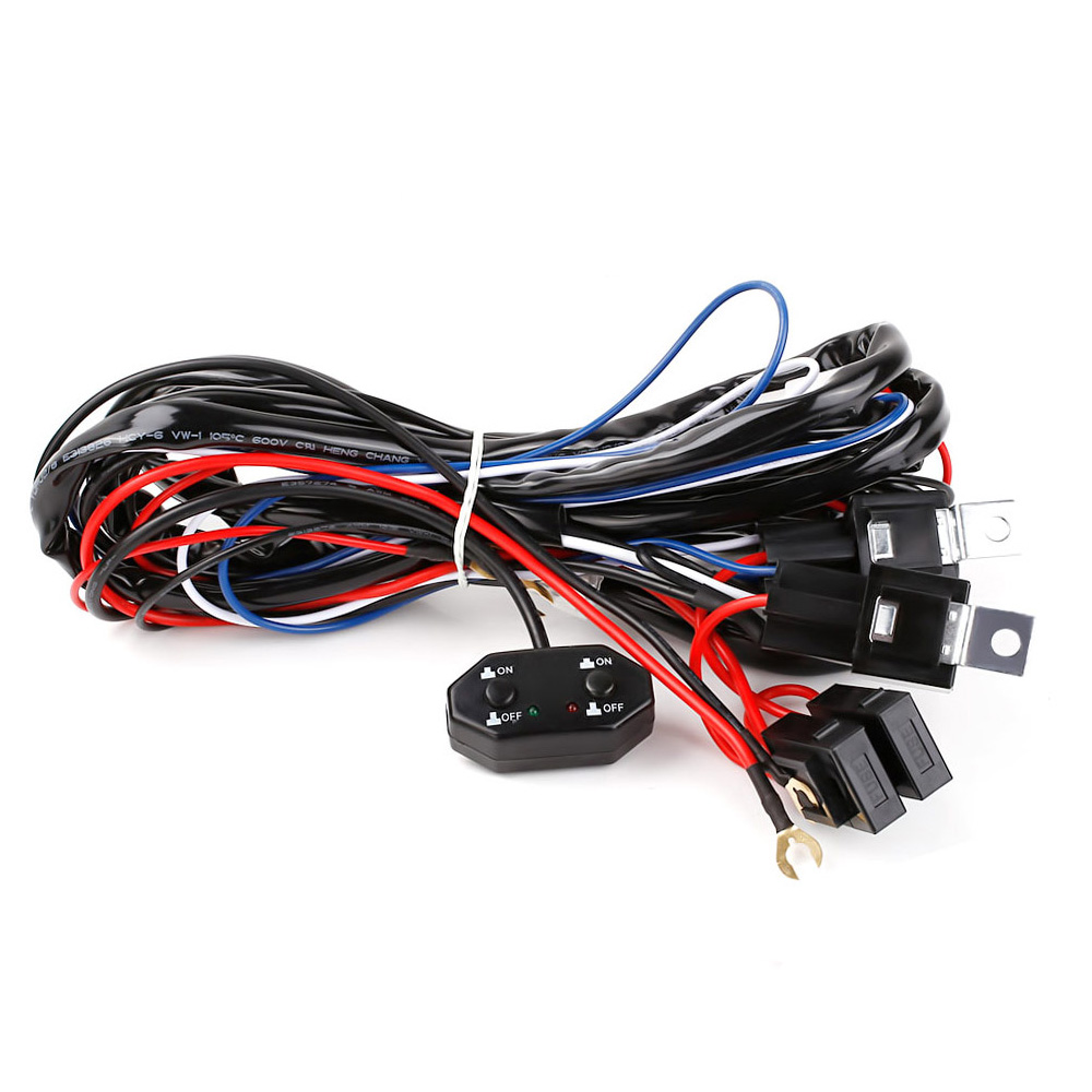 hight resolution of wiring harness kit for 300w off road led work light bars on off switch 12v dc 40amp power relay refuse harness kit for atv utv suv truck jeep