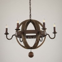 Country Vintage Wooden 6 Light Chandelier Lamp for Dining ...