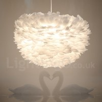 White Feather Pendant Light for Bedroom Dining Room Kids