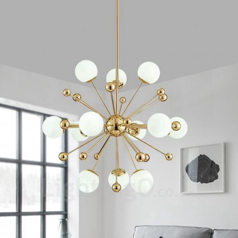12 Light Modern  Contemporary Ceiling Lights Copper Plating Chandelier with White Ball Glass