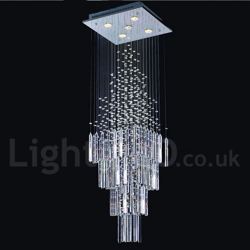 5 Lights Modern LED K9 Crystal Ceiling Pendant Light