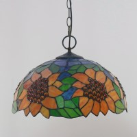 Sunflower Pattern 16 inch Classic Handmade Tiffany Pendant ...