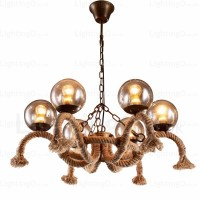 6 Light Vintage/Retro Pendant Lights with Glass Shade for
