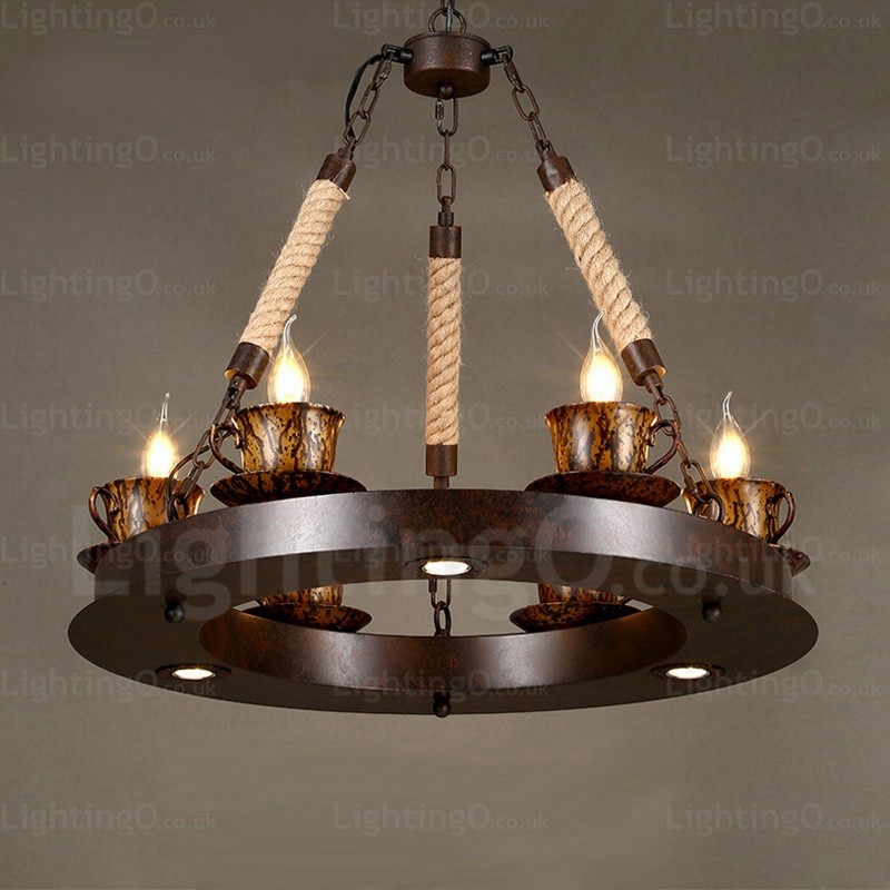 9 light country rustic pendant lights for living room bedroom dining room cafes bar