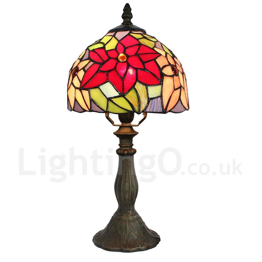 Handmade Rustic Retro Tiffany Table Lamp Resin Base Red
