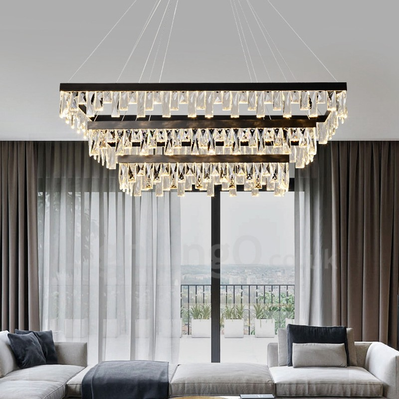 Nordic Living Room Crystal Pendant Lights Rectangular