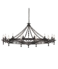 Medieval Wrought Iron 12 Lamp Chandelier