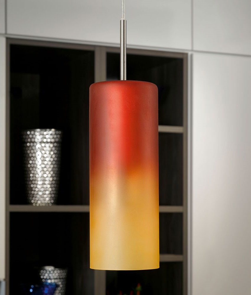 red kitchen light shades moen banbury faucet and orange glass triple ceiling pendant