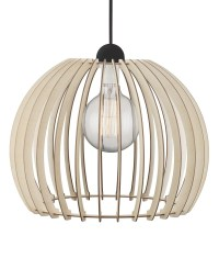Curved Wooden Slatted Pendant with Black Flex & 3 Sizes