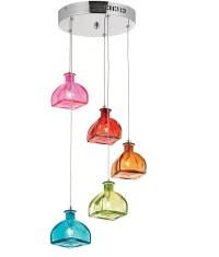 Bottle Glass Shade Pendant - Multi Coloured
