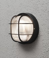Exterior Caged Bulkhead Wall Light in Black or White