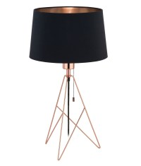 Geometric Triangular Base Table Lamp with Black Shade in ...