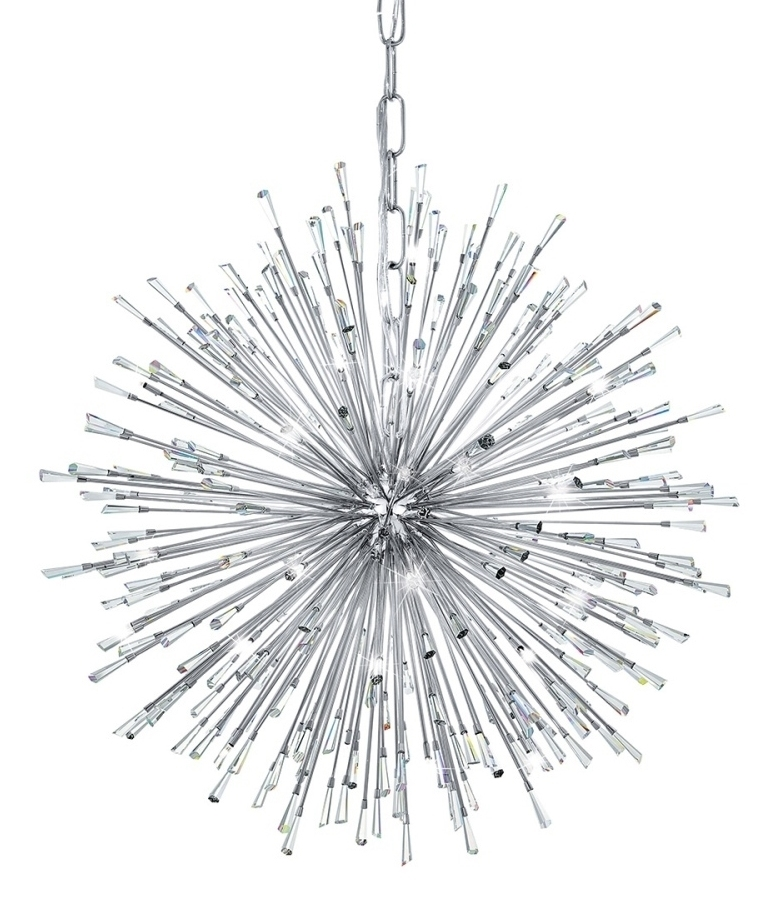 Crystal Explosion LED Pendant Gold Or Chrome Finishes