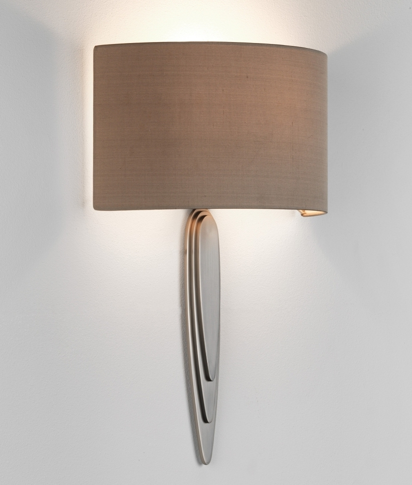 Wall mounted wall light with half shade in two finishes