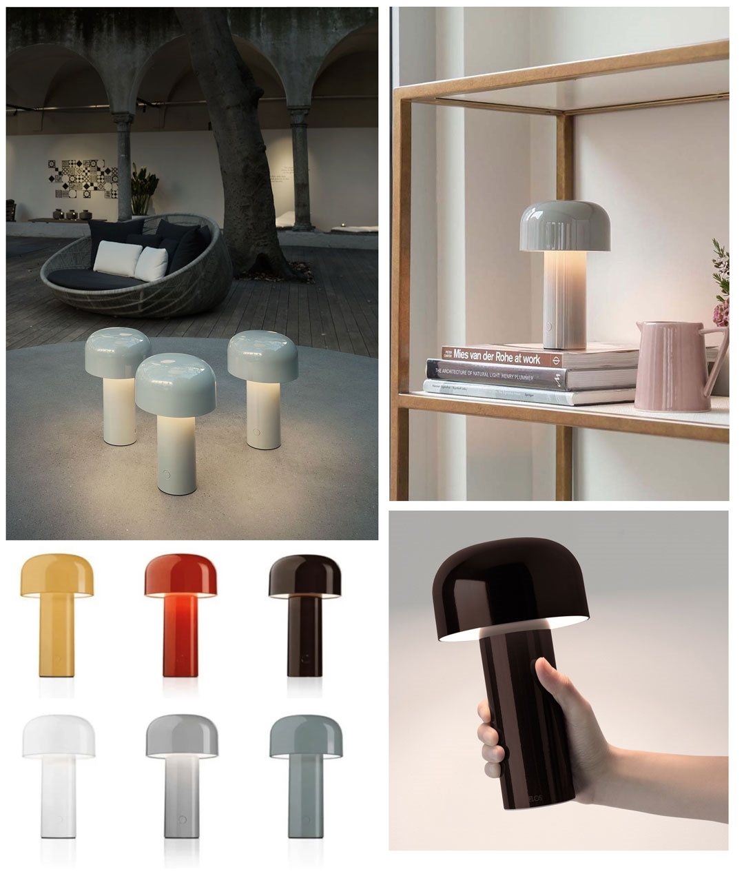 Battery Powered Designer Table Lamp In 6 Colours Bellhop By Flos