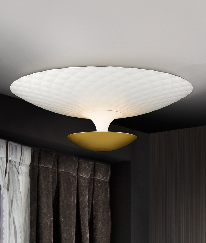 White and Gold Flush Ceiling Light with Indirect Light Distribution