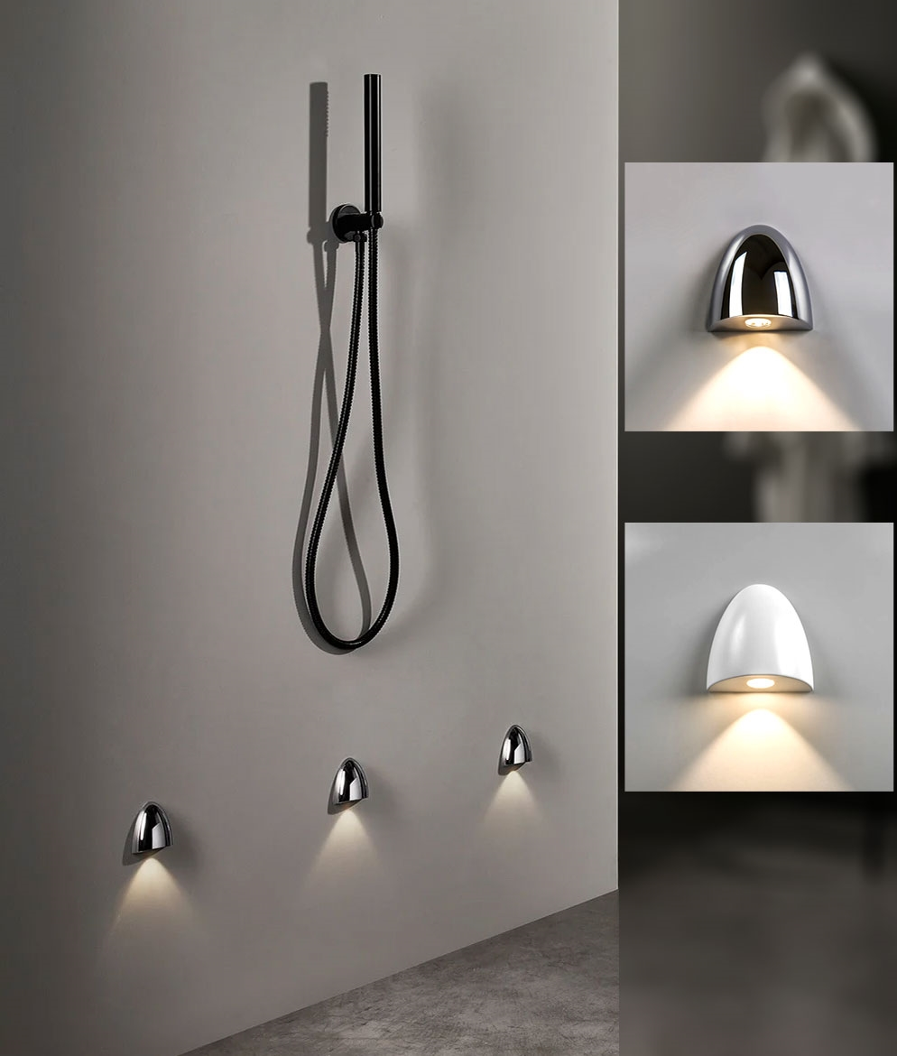 low level semi recessed wall light for shower and wetrooms