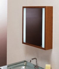 Wooden Illuminated Bathroom Mirror Cabinet