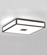 Opal Glass Square Bathroom Ceiling Light in Art Deco Style