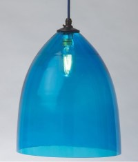 Sky Blue Hand blown Glass Shade Pendant. A fantastic light