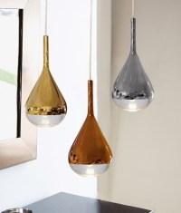 Luscious Metalic Teardrop Glass Light Pendants In Gold ...