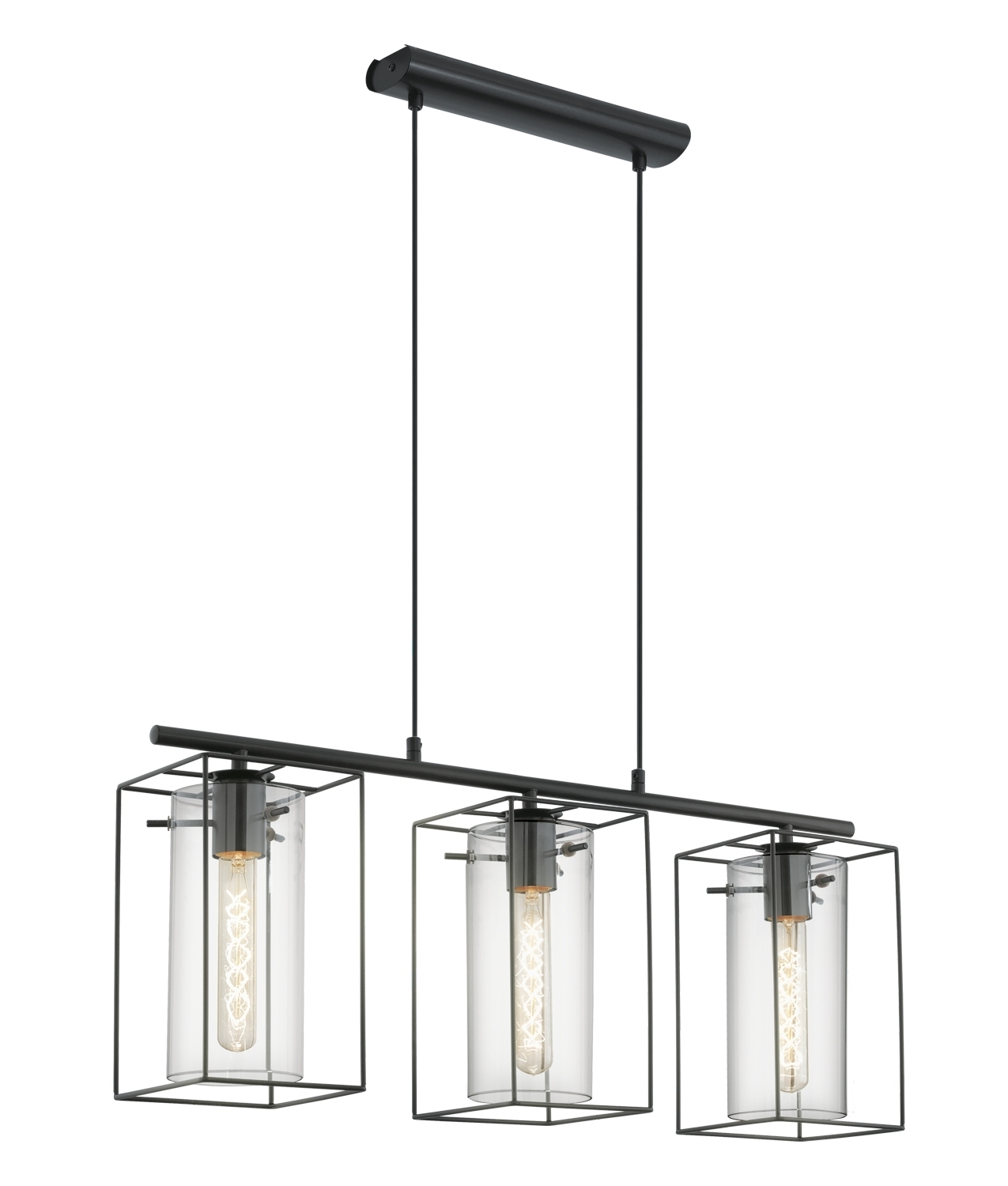 Triple Bar Light With Cylindrical Glass Amp Steel Box Frame