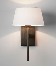 Elegant wall light with fabric shade is available in three ...