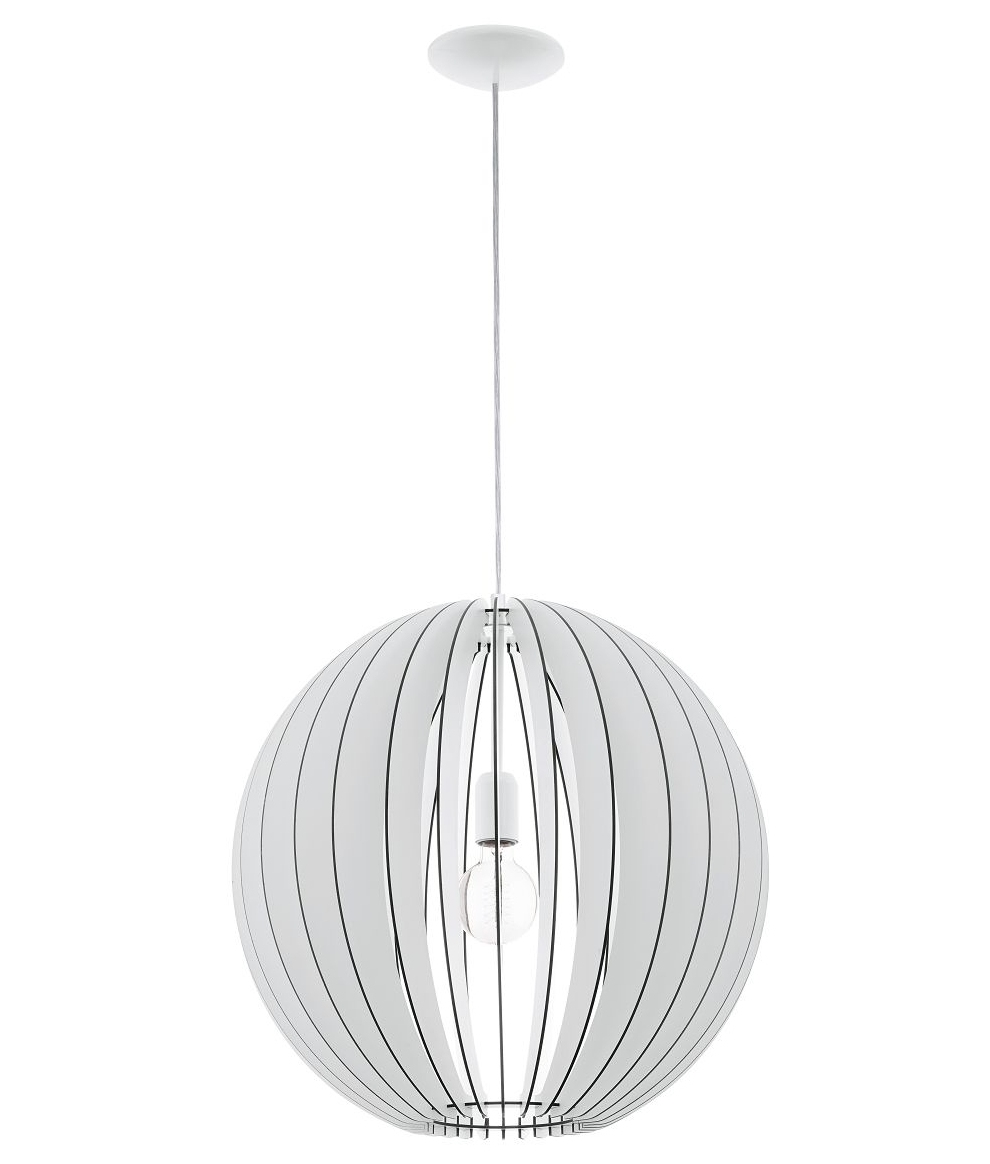 Wooden White Globe Slatted Pendant in Two Diameters