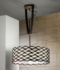 Height adjustable ceiling light with woven shade and ...