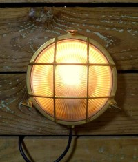 Marine Brass Bulkhead Wall Light with Caged Detail