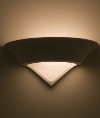 Conical Plaster Wall Light with Bottom Glass Panel