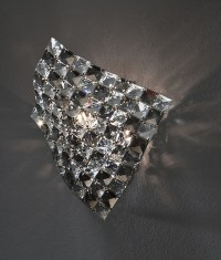 Smoked Clear Glass Chrome Wall Light