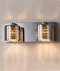 Smoked Glass, Crystal & Chrome Wall Light