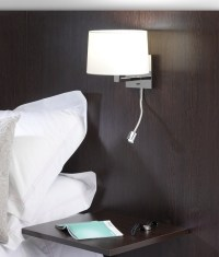 Small Bedside Wall Light & LED - Polished Nickel