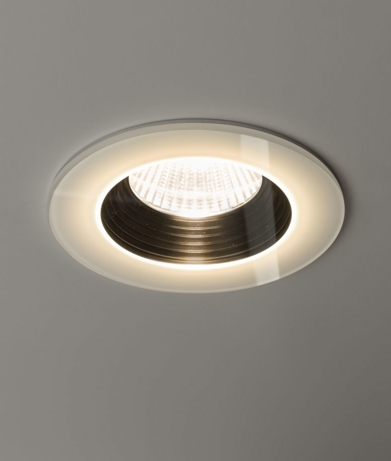 Stunning Round Glass LED Bathroom Fired Rated Downlights in Black or White