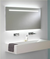 Wide illuminated bathroom mirror with backlit effect for ...