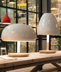White Shiny Glass & Oak Wood Base Table Lamp