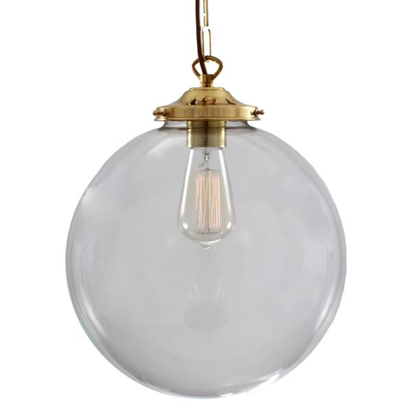 Mullan Riad 30cm Clear Globe Pendant Antique Brass