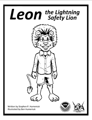 Leon the Lightning Lion at Lightning Safety Alliance . com