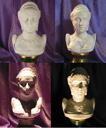 Upper left: statue lighted with diffuse lighting only, which results in a lack of definition. Upper right: statue lighted with diffuse lighting with sidelight, balancing definition without harsh shadowing. Bottom left: statue lighted with downlighting only, which produces unflattering shadows. Bottom right: statue lighted with uplighting only, which makes the face appear sinister. Image courtesy of Naomi J. Miller, FIES, FIALD, LC.
