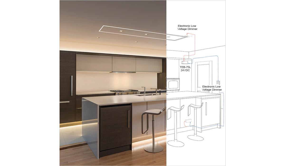hight resolution of truline over a kitchen island