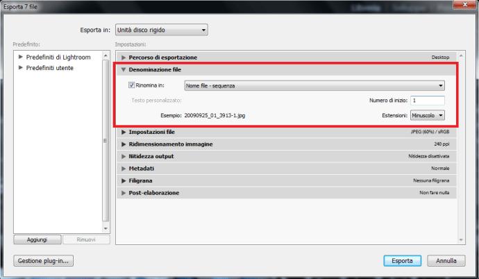 06 lightroom rinominare nome file immagini foto libreria importazione esportazione automatico