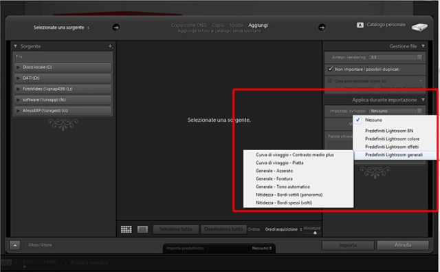 01 lightroom 4 beta preset predefiniti tutorial importazione gratis gratuito guida manuale sviluppo