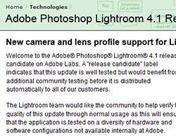La Release Candidate 2 di Lightroom 4.1 risolve diversi problemi e aggiunge due importanti funzionalità
