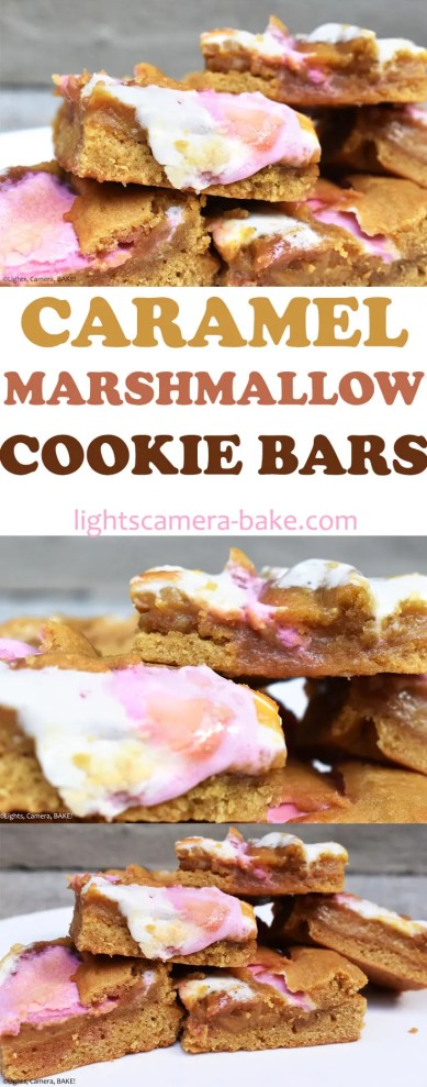 Caramel Marshmallow Cookie Bars are soft, chewy, fluffy and topped with homemade, buttery caramel and toasted marshmallows. #caramelcookies #marshmallowcookies #caramelsmores #cookiebars #caramelcookiebars #marshmallowcookiebars #caramelmarshmallowcookiebars