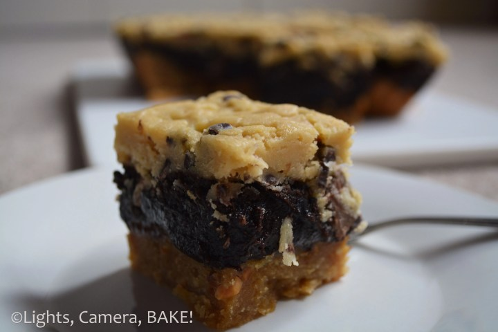 Peanut Butter Brownie Cookie Dough Simple components of peanut butter cookie, brownie and cookie dough all layered as one slice to create an insane slice! Click the photo for the #recipe . #dessert #peanutbutter