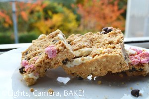 No Bake Avalanche Bars. Crushed biscuits mixed with melted peanut butter and white chocolate, filled with marshmallows and chocolate chips. So quick and simple and a reat snakc for kids (and big kids!) Click on the photo for the #recipe . #AvalancheCookies #NoBake